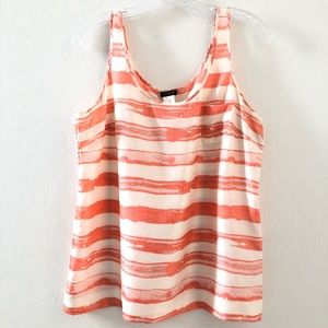 J. Crew coral white artistic striped silk tank